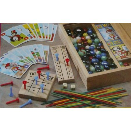 Pavilion Fun With Games Set In Wooden Game Box Marbles Pick Up Sticks Cards (Rules For Pick Up Sticks)