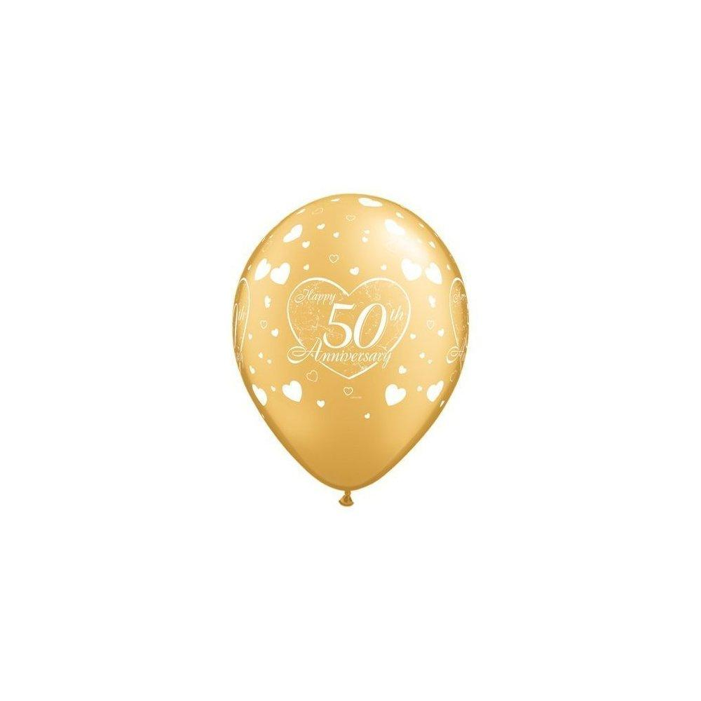 happy 50th wedding anniversary golden 11 latex balloons x...