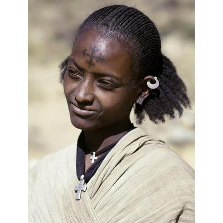 Tigray Woman Has a Cross of the Ethiopian Orthodox Church Tattooed on Her Forehead, Ethiopia Print Wall Art By Nigel
