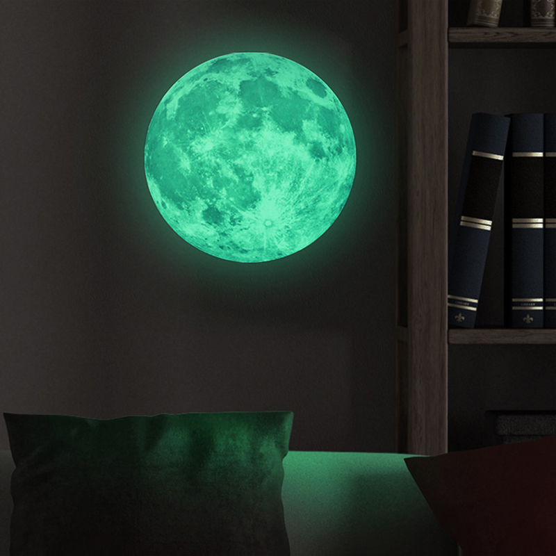 30cm/12inch Luminous Light Glow in the Dark Moon Earth Wall Sticker Home Art Decor Room Decal Removable adhesive Wall Decals
