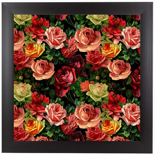 East Urban Home 'Vintage Roses Flowers Floral Square II' Framed Graphic Art Print