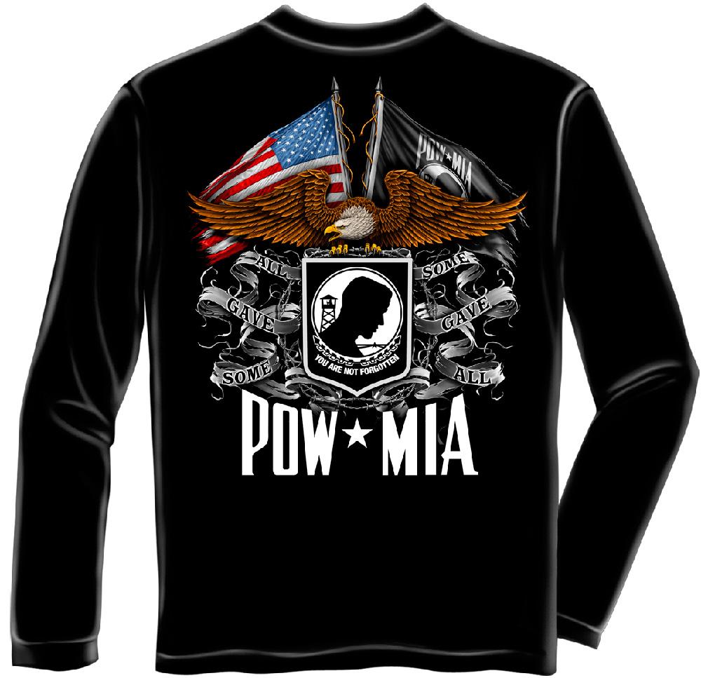Military Long Sleeve Double Flag Eagle Pow Black