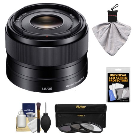 Sony Alpha E-Mount 35mm f/1.8 OSS Lens with 3 (UV/FLD/CPL) Filters + Kit for A7, A7R, A7S Mark II, A5100, A6000, A6300