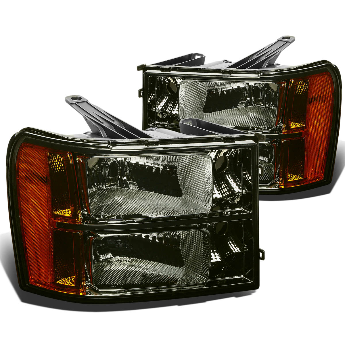 For 07-13 GMC Sierra GMT 900 Replacement Headlight Assembly Kit (Smoke Lens Amber Reflector) 08 09 10 11 12
