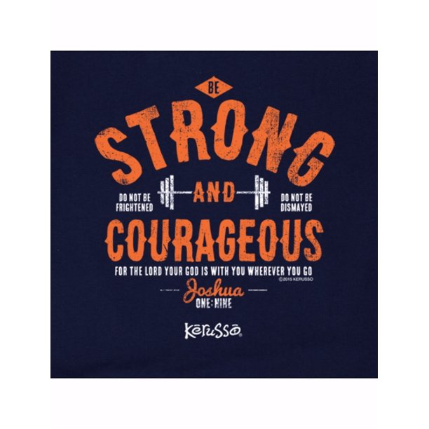 Tee Shirt-Strong And Courageous (Youth)-Small-Navy