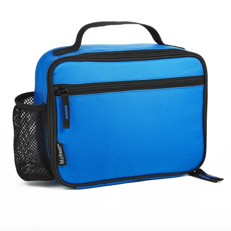 Fit & Fresh Insulated Essential Lunch Box with External Pocket (Blue) - Metal Lunchbox