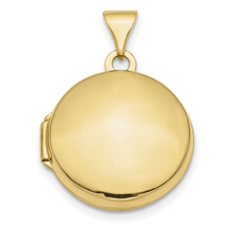 14k Yellow Gold Domed 16mm Round Photo Pendant Charm Locket Chain Necklace That Holds Pictures Oval Yellow Gold Round Picture Pendant