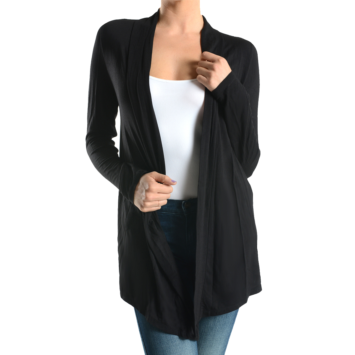 Women's Sofra Open-Front Soft Draped Long Sleeve Cardigan Sweater ...