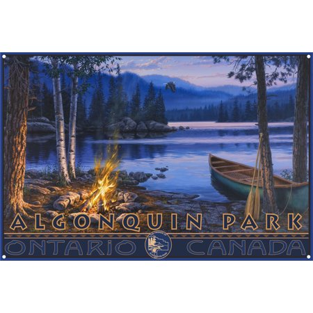 Algonquin Park Canoe Fire Metal Art Print by Darrell Bush (12
