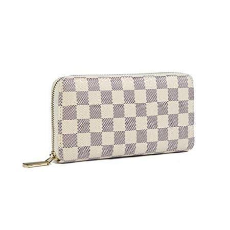 Daisy Rose Women's Checkered Zip Around Wallet and Phone Clutch - RFID Blocking with Card Holder Organizer -PU Vegan Leather, Cream Leather Businessmans Wallet