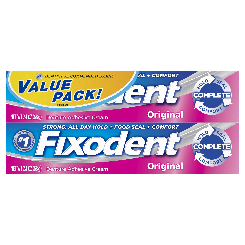 Fixodent Complete Original Denture Adhesive Cream, 2.4 oz TWIN