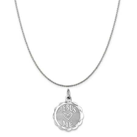 (Sterling Silver Jesus Loves Me Disc Charm on a Sterling Silver Rope Chain Necklace, 18