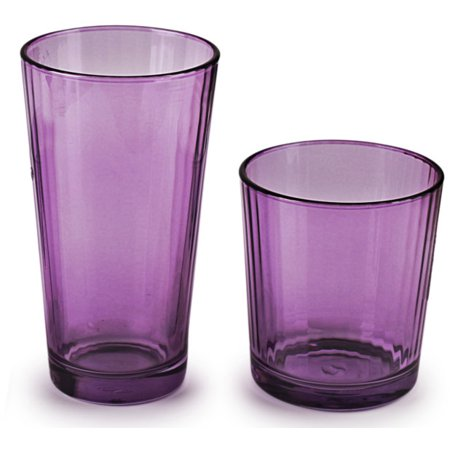 Circleware Plum Spectrum 16 Piece Set of 8-17 oz Tumblers + 8-13 oz DOF  Whiskey Glasses
