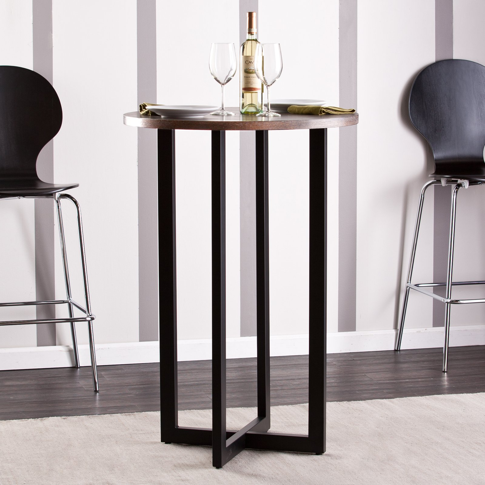 Southern Enterprises Danby Bistro Table, Burnt Oak/Black