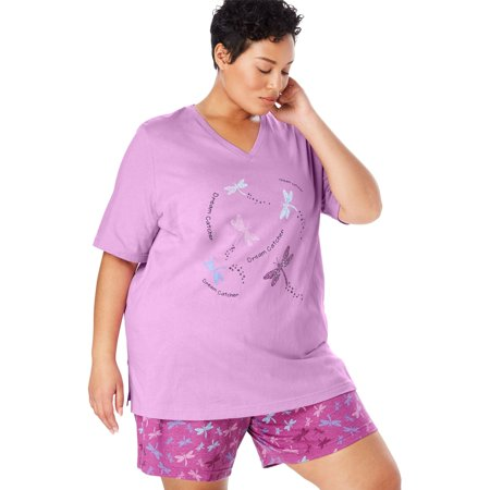 Dreams & Co. Plus Size V-neck Shorty Pj Set