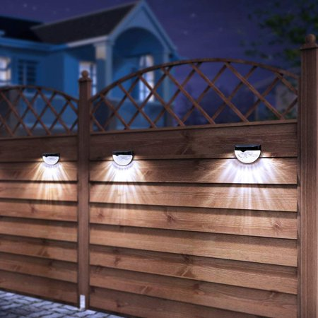 GLiving 4 Pack White Outdoor Garden Solar LED Post Deck Cap Square Fence Light Landscape Lamp for Lawn Square