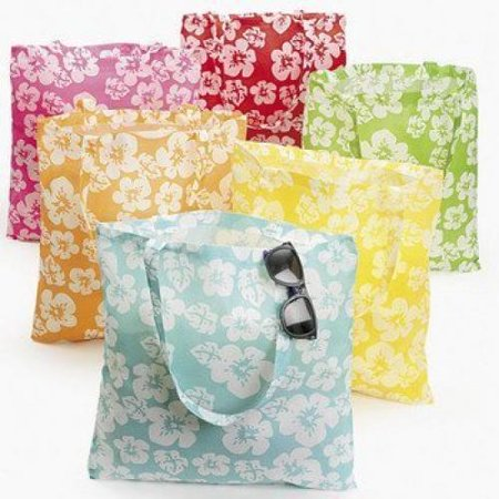 Lot of 12 Large Hibiscus Hawaiian Luau Pool Party Tote - Luau Party Favors