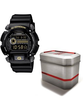 Men's G-Shock Watch with Reusable Gift Tin, Black Dial and Resin Strap