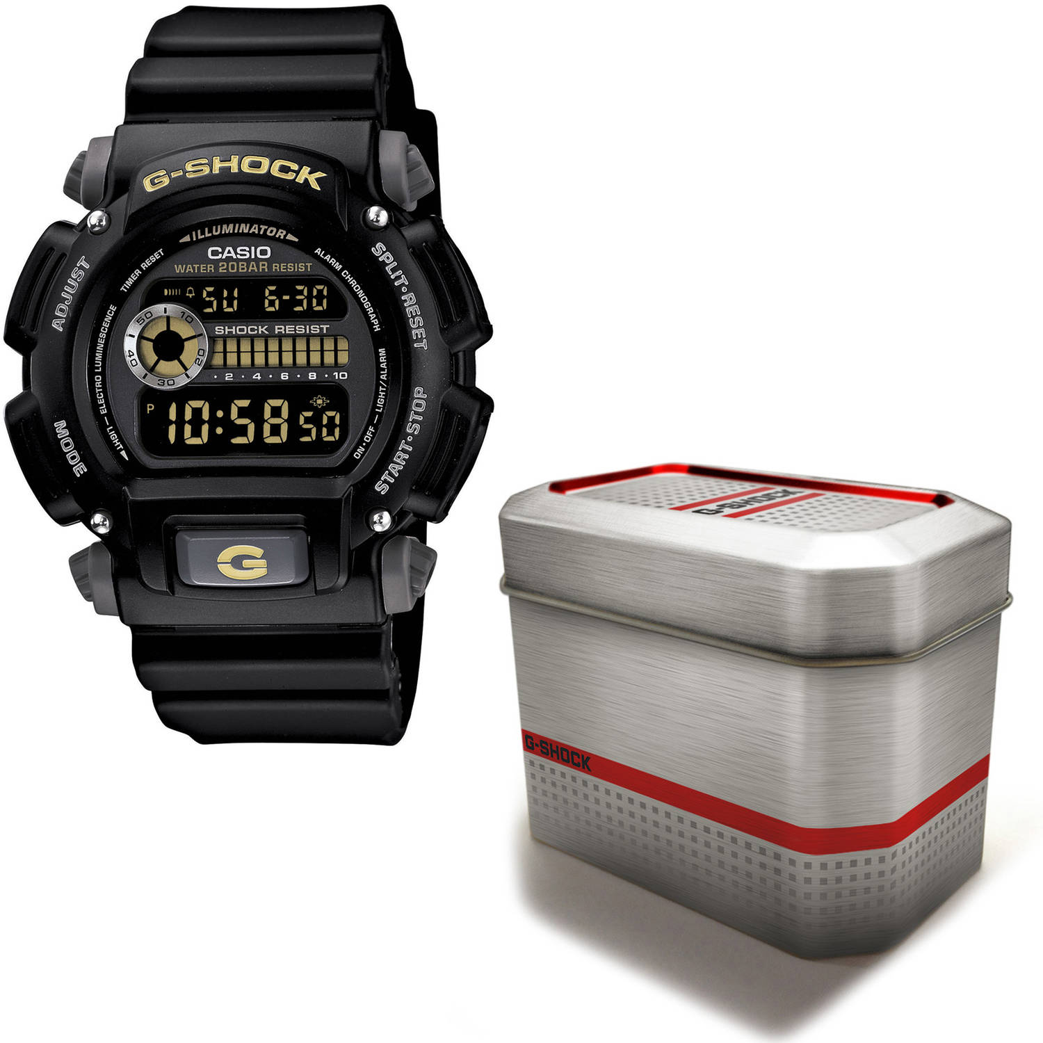 Casio Men's G-Shock Watch with Reusable Gift Tin, Black Dial and Resin Strap