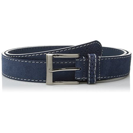 Florsheim Men's Casual Genuine Suede Leather Belt with with Contrast Stitched Edge, Blue,