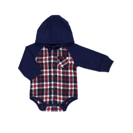 Kapital K Long Sleeve Hooded Flannel Plaid Bodysuit (Baby Boys) (Plaid Onesie)