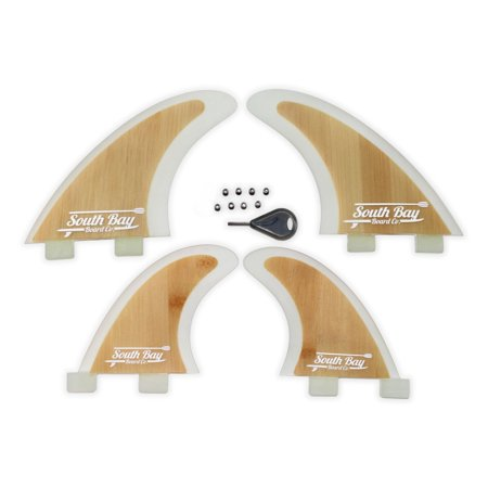 South Bay Board Co. Bamboo Surfboard Fins, 4 Fin FCS Quad Set, Fin Key & FCS Fin Screws ()