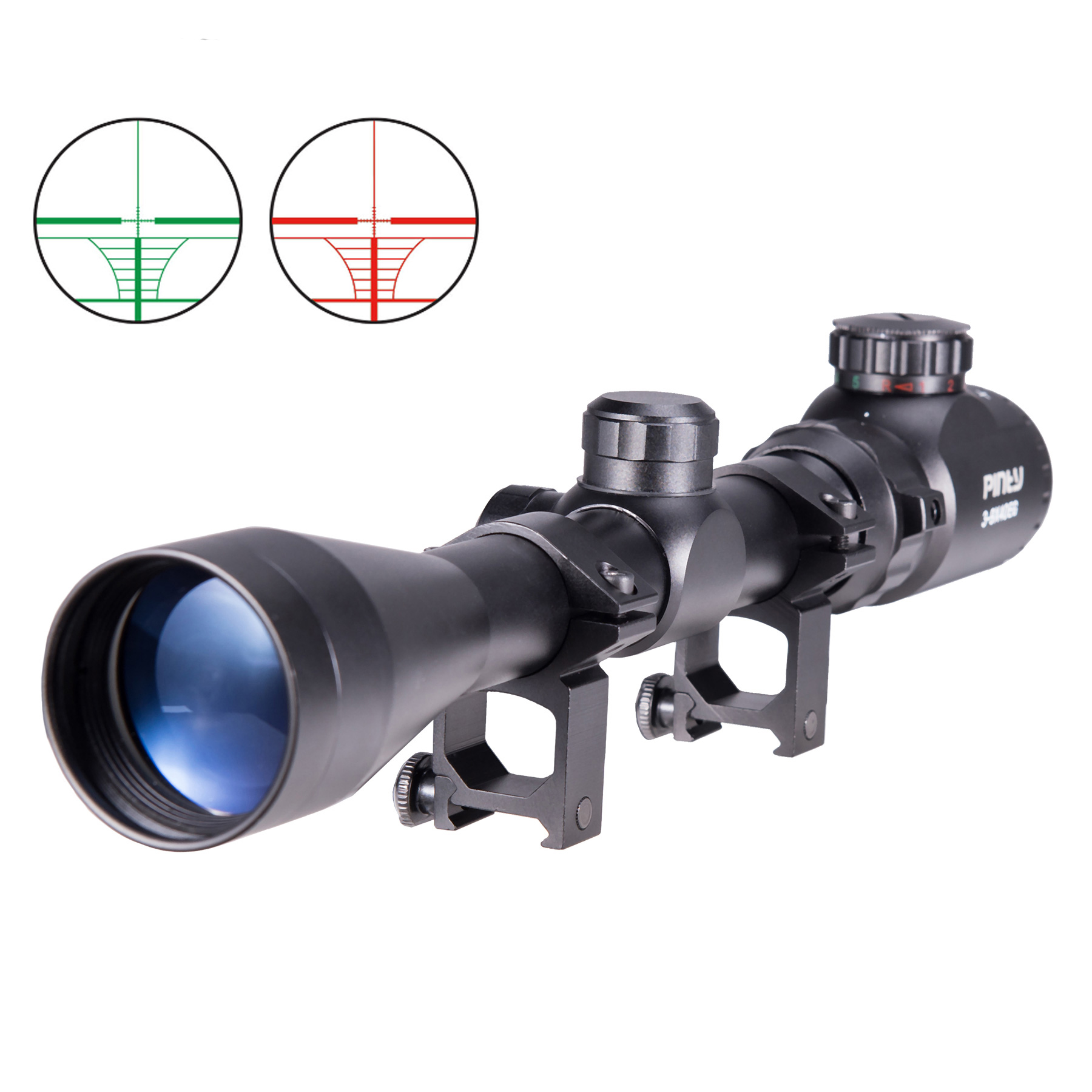 Pinty 3-9X40 Red Green Rangefinder Illuminated Optical Sniper Rifle Telescopic Scope by YKS
