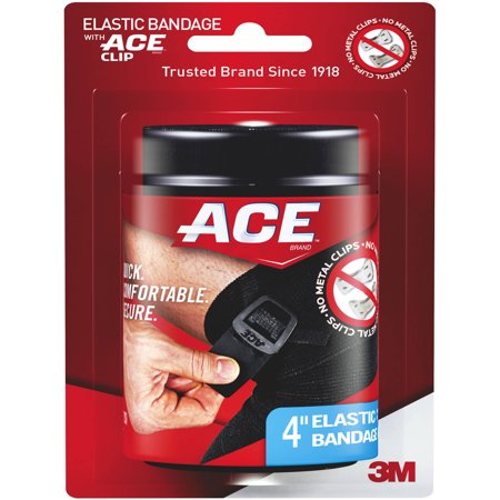 ACE Brand Black Elastic Bandage with ACE Brand Clip, 4 inch Ace Bandage Ankle Support