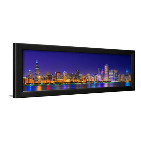 Chicago skyline with Cubs World Series lights night, Lake Michigan, Chicago, Cook County, Illino... Framed Print Wall (World Series Team Celebration Framed)