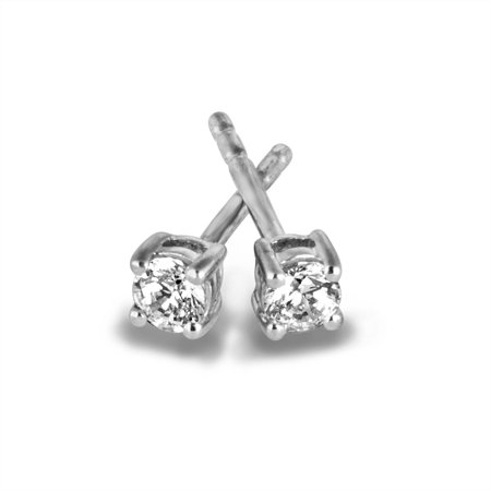 Sterling Silver 1 5 Carat T W Round Diamond Stud Earrings