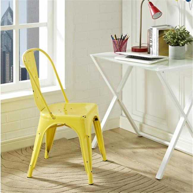 Walker Edison CH33MCYW 17 x 33 inch Metal Cafe Chair - Antique Yellow