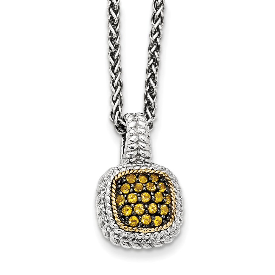 Roy Rose Jewelry Sterling Silver and 14K Gold and Citrine Necklace ~ Length 18'' inches by