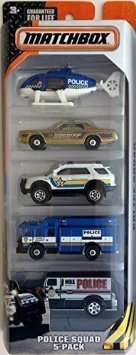 , 2015 Series, Police Squad 5-Pack, Includes: 5 1:64 scaled die-cast vehicles. By Matchbox by
