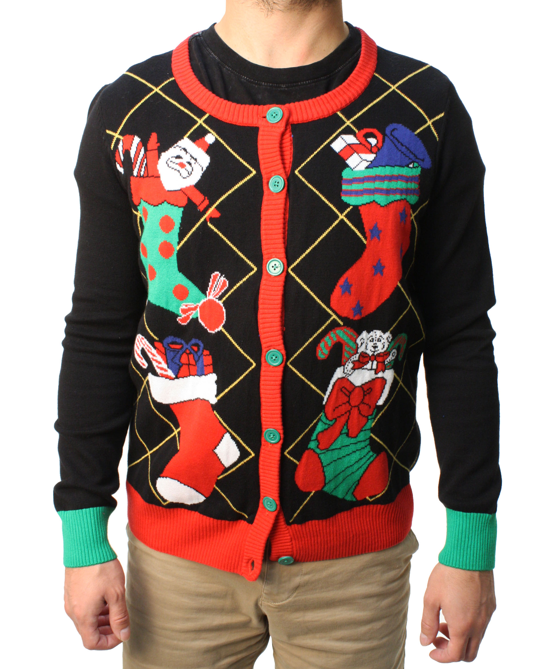 Ugly Christmas Sweater Teen Boy's Stuffed Stocking Cardigan Sweater