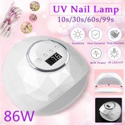80/86W 36/39 UV&LED Lights Nail Dryer Quick Curing 4 Timer Setting with LCD Display Fan Cooling System Touch Screen Auto Sensor Timer Setting, For Women Beauty Manicure Salon Tool