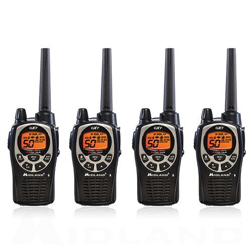 Midland GXT1000VP4 Xtra Talk Two Way Radio 50 Channels 36 Mile Range JIS4 Waterproof (4 Pack)