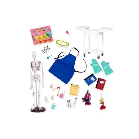 Science Lab System - Schoolroom Science Lab with Skeleton & Microscope!, Doll science accessory set is perfect for your budding scientist By Our Generation