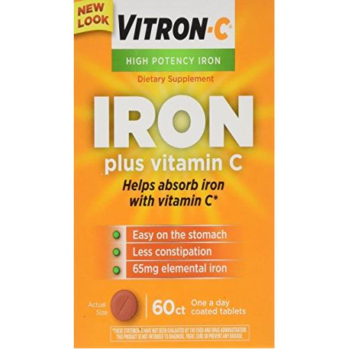 2 Pack Vitron C Once A Day High Potency Iron and Vitamin C Tablets 60 Count Each