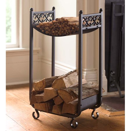 Compact Log Rack, Cast Iron with Scrollwork Design, Black