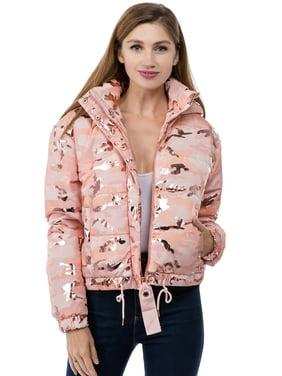 Women's Juniors Camo Printed Polyfill Hooded Winter Jacket Coat