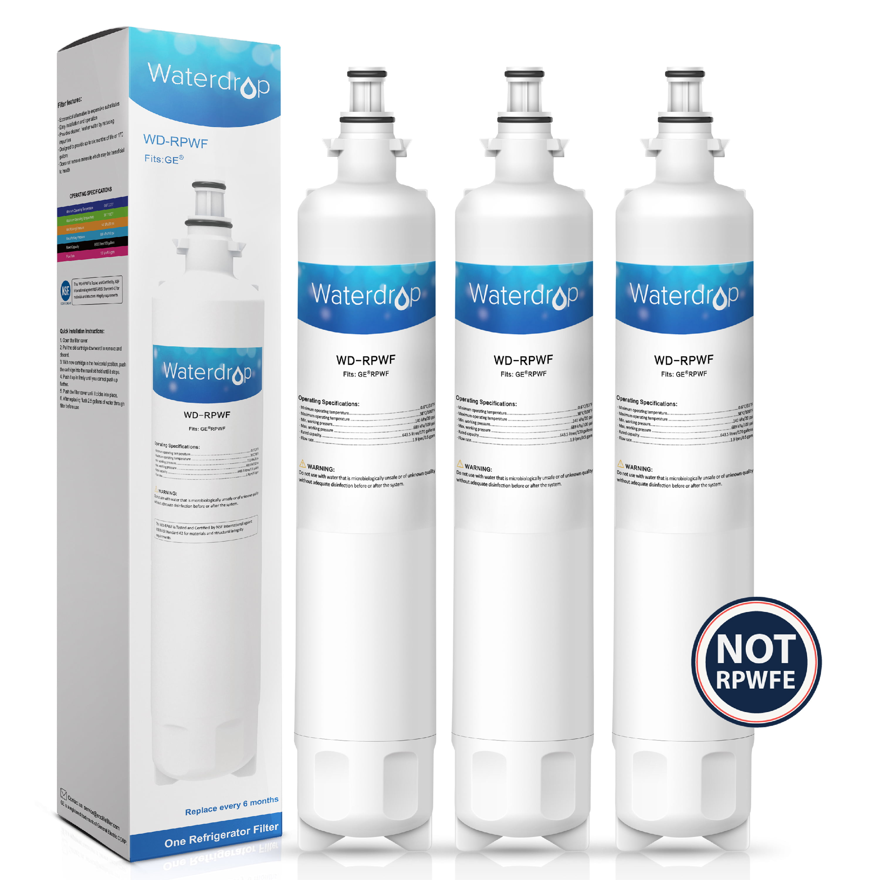 RPWF Refrigerator Water Filter GE Replacement RPWFE Compatible After Convert NEW