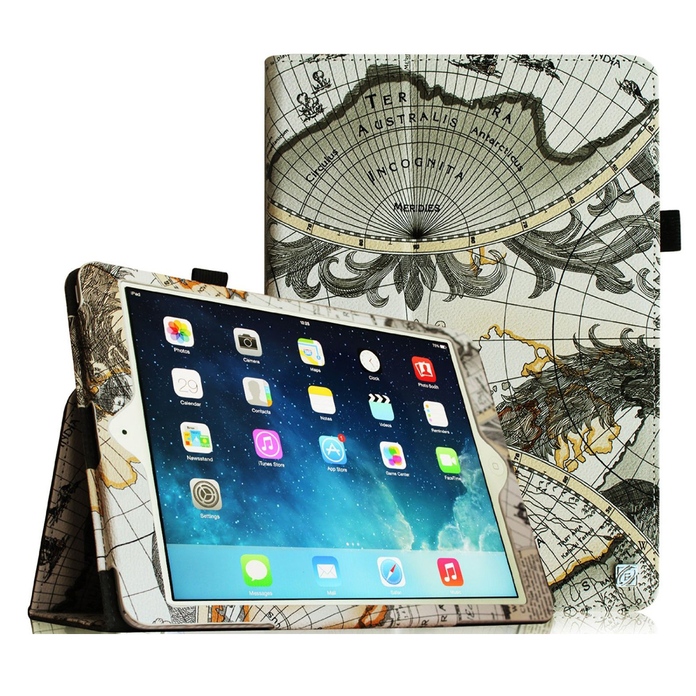 iPad mini 3 / iPad mini 2 / iPad mini Case - Fintie Folio Cover Slim Fit PU leather with Auto Sleep/Wake, Map White