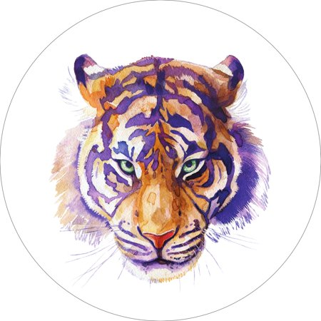 Tiger Home Wall Shelf Decor Animal Decorations Watercolor Round Sign - 18 - 18 Decorations