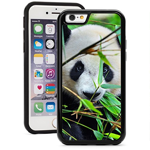 For Apple iPhone Shockproof Impact Hard Soft Case Cover Panda Bear Eating Bamboo (Black for iPhone 7 Plus)