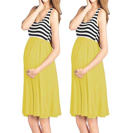 57698142 Unbrand - Womens O-Neck Pregnant Sleeveless Nursing Stripe Maternity Vest Tank  Dress - Walmart.com