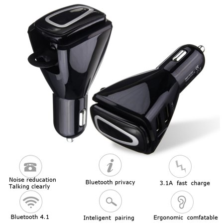 EIVOTOR Wireless bluetooth Car Kit Stereo Headset Earbud Earphone USB Charger Handsfree ()
