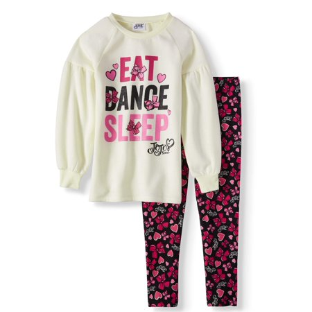 Lantern Sleeve Graphic Tunic & Legging, 2-Piece Outfit Set (Little Girls & Big Girls)