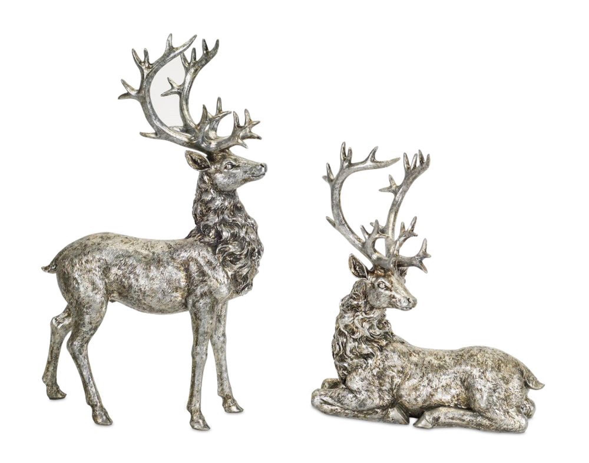 Set Of 2 Metallic Silver Rustic Finish Deer Figurines Christmas Decorations 21 Walmart Com Walmart Com