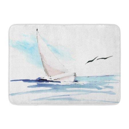 KDAGR Blue Painting Yacht in Sea Seagulls Colorful Watercolor Hand Lllustration Sail Boat Ocean Doormat Floor Rug Bath Mat 23.6x15.7 inch ()