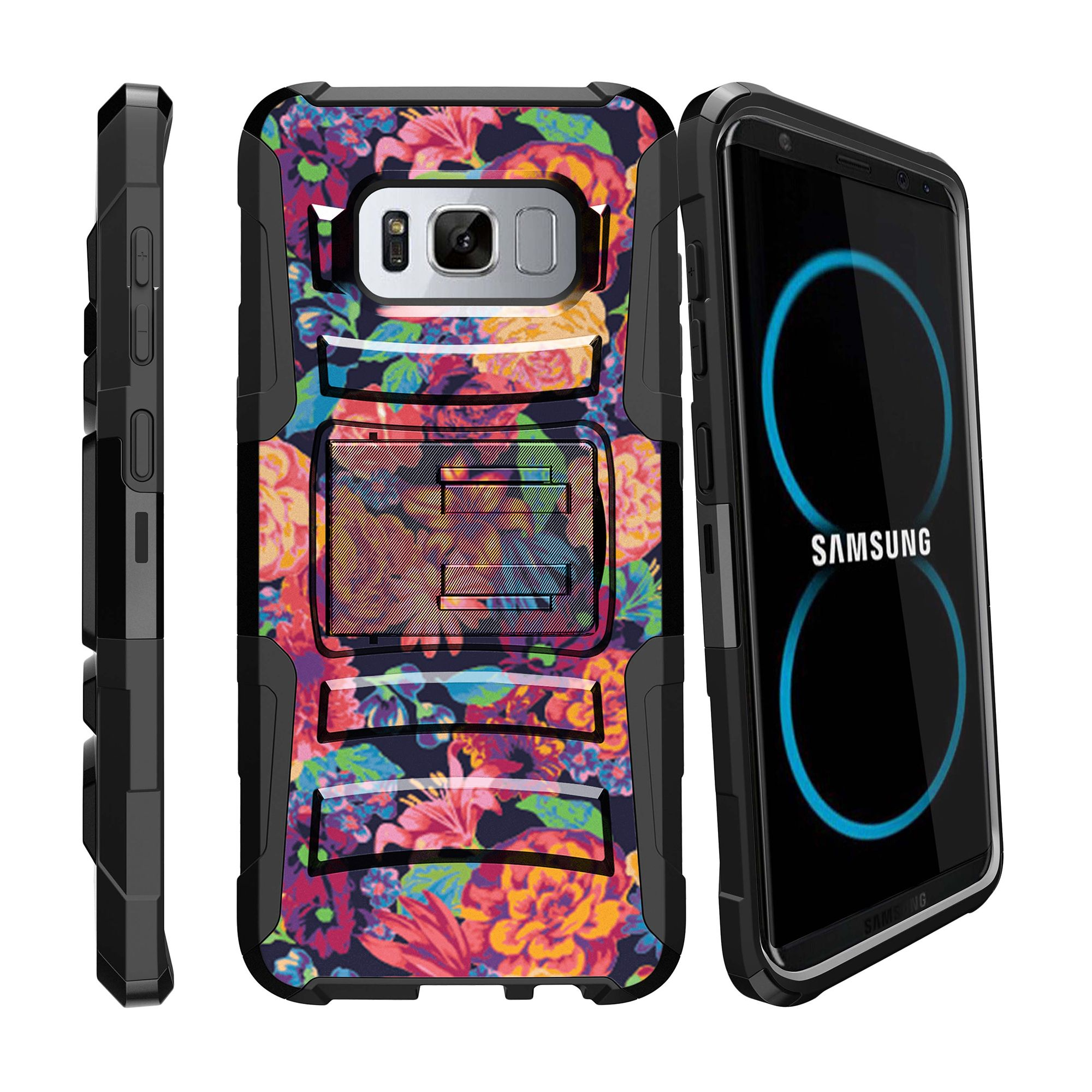 Samsung Galaxy S8 | SM-G950 Holster Case [ Clip Armor ] Rugged Holster Case with Kickstand + Belt Clip - Floral Dream
